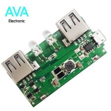 برد پاور بانک 5v 2A با دو خروجی USB (ماژول شارژ و دشارژ)