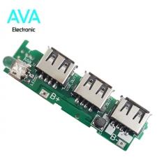برد پاوربانک 5v 3A با سه خروجی USB و کلید پاور (ماژول شارژ و دشارژ)