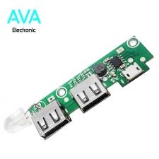 برد شارژ و دشارژ باتری لیتیومی 2A دارای دو خروجی USB (برد پاور بانک)