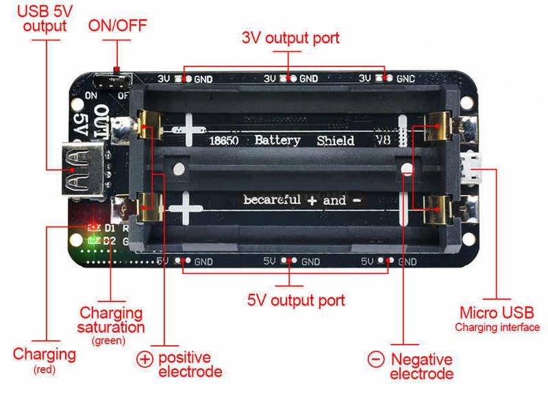 شیلد باتری لیتیومی 18650 دارای دو سطح ولتاژ خروجی 3+ و 5+ ولت و قابلیت شارژ